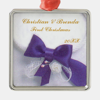 Wedding First Christmas Metal Ornament
