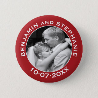 Wedding First Christmas Photo Custom Name and Year Button