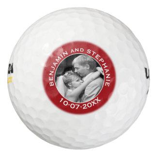Wedding First Christmas Photo Custom Name and Year Golf Balls