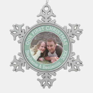 Wedding First Christmas Photo Custom Name and Year Snowflake Pewter Christmas Ornament