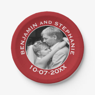 Wedding First Christmas Photo Custom Name and Year Paper Plate