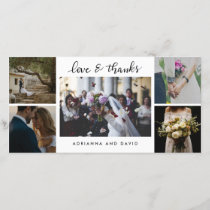 Wedding Five Photos Forever Thankful Script Thank You Card