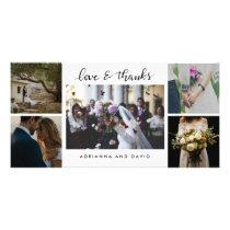 Wedding Five Photos Love And Thanks Script Card