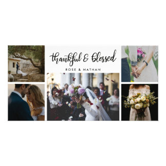 Wedding Five Photos Thankful And Blessed Script Card