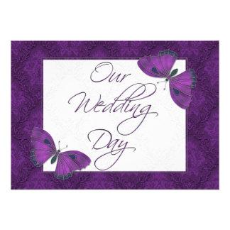 Wedding Flat Invitation Butterfly Brocade Purple