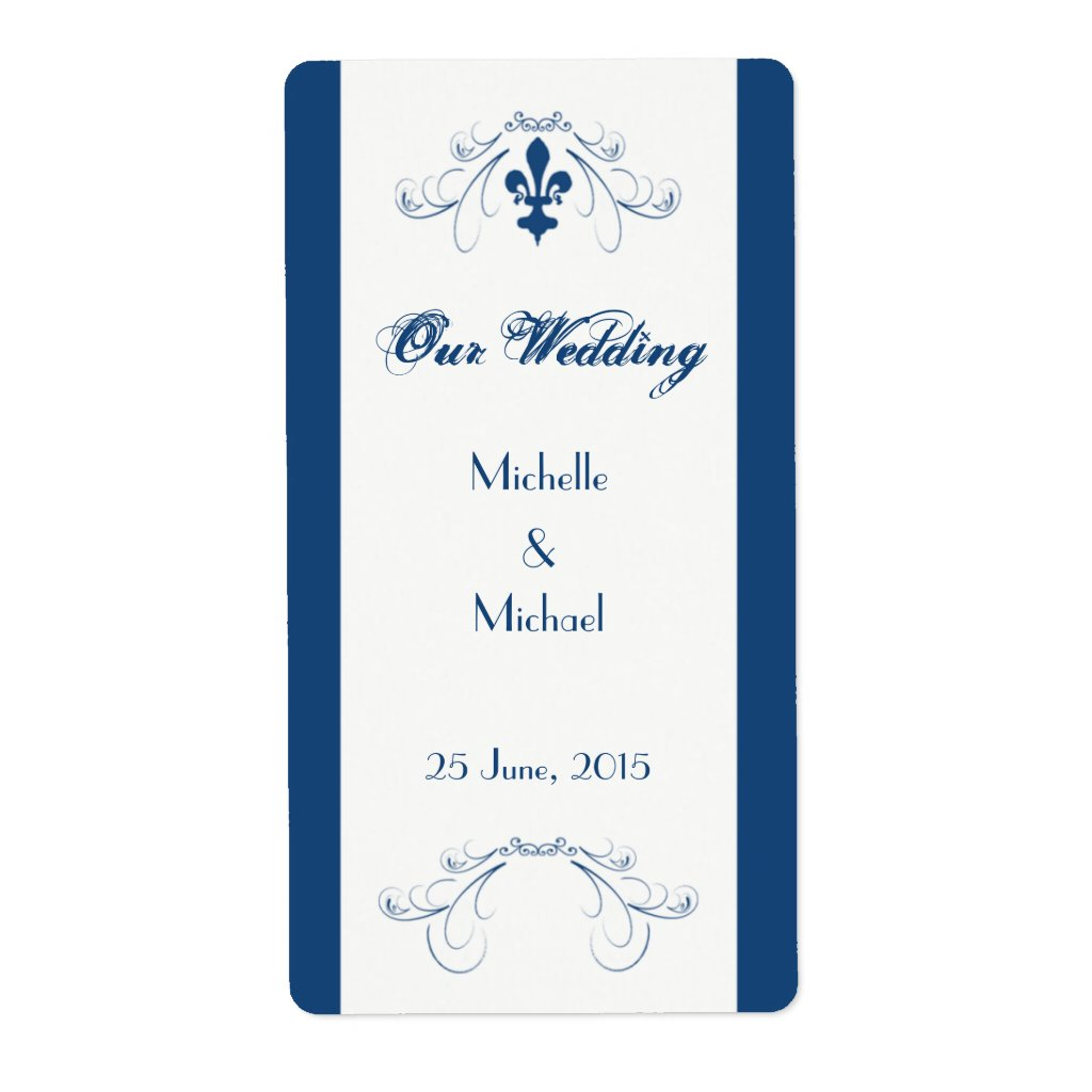 Wedding Fleur de Lis Wine Labels (Dark Blue) 5 sheets.