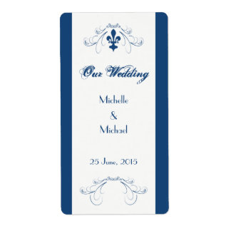 Wedding Fleur de Lis Wine Labels Dark Blue