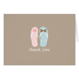 Wedding Flip Flops Folded Thank You Notes Greeting Card