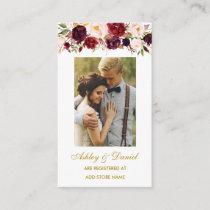 Wedding Floral Burgundy Registry Insert Photo Card