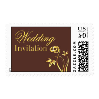 Wedding Floral Gold Rings Medium Postage