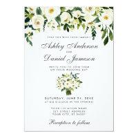 Wedding Floral Green White Watercolor Invitation