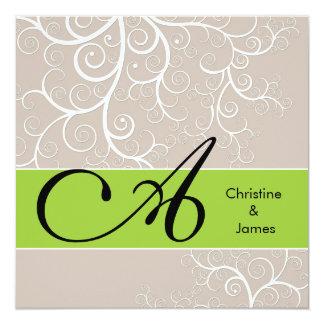 Wedding floral monogram names invitation