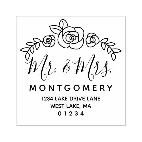 Wedding Floral Roses Mr  Mrs Return Address Rubber Stamp