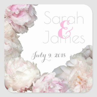 Wedding Floral Save the Date Peony Pink Sticker