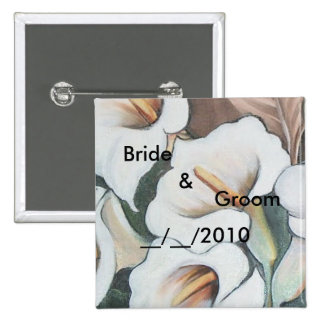 wedding floral set pinback button