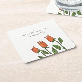 Wedding Floral Watercolor Spring Bright Romantic Square Paper Coaster