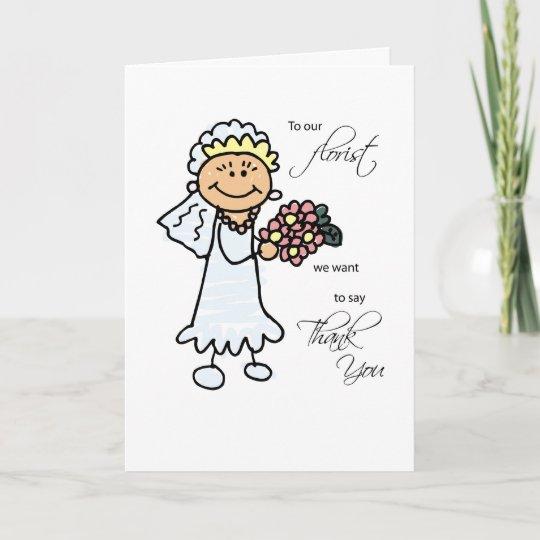wedding florist thank you stick figures bride thank you card