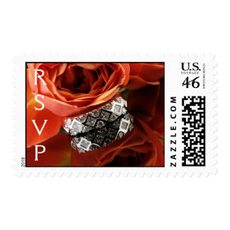 Wedding Flower Diamond Ring Postage Stamp
