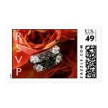 Wedding Flower & Diamond Ring Postage Stamp