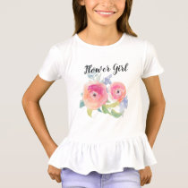 Wedding Flower Girl Watercolor Roses Bridal Party T-Shirt