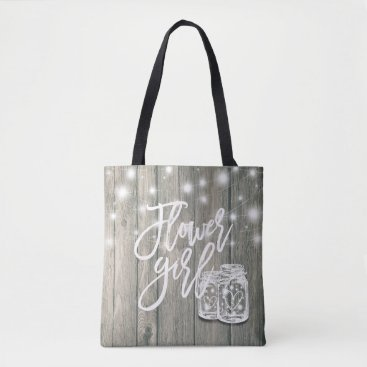 Bride Themed Wedding Flower Girl Wood Mason Jar String Lights Tote Bag