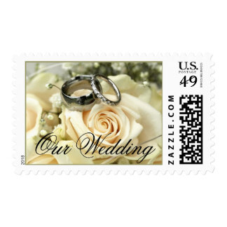 Wedding Flowers and Rings Postage Stamps