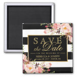 Wedding Flowers Black White Stripes Save the Date 2 Inch Square Magnet