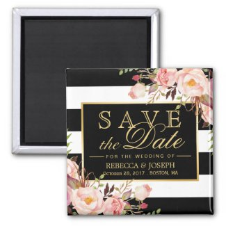 Wedding Flowers Black White Stripes Save the Date Magnet