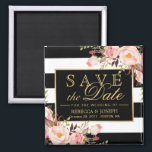 """Wedding Flowers Black White Stripes Save the Date Magnet<br><div class=""""desc"""">================= ABOUT THIS DESIGN ================= Wedding Flowers Black White Stripes Save the Date Square Magnet. (1) All text style, colors, sizes can be modified to fit your needs. (2) If you need any customization or matching items, please contact me. (3) You can find matching products (e.g. Invites, RSVP card, Reception...</div>"""
