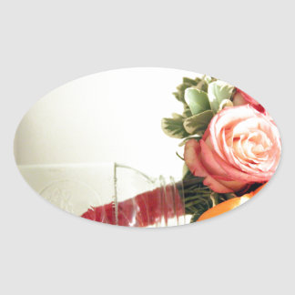 wedding flowers pink orange rose customize oval sticker