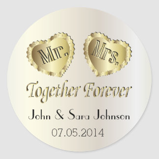 Wedding for the Bride and Groom | Personalize Classic Round Sticker