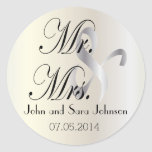 Wedding for the Mr & Mrs   Personalize Classic Round Sticker