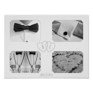 Wedding Four Photo Collage Heart Monogram Poster