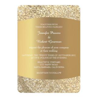 Wedding Foxier Minimalism Gold Blush Lace Card