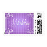 Wedding Frame with Purple Striped Background Postage