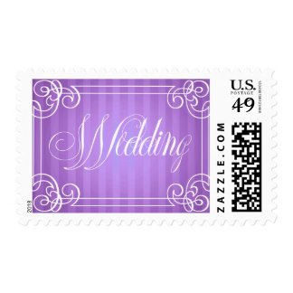 Wedding Frame with Purple Striped Background Stamp