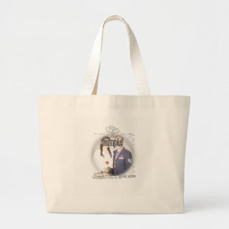 Wedding Frame with Rings & Ribbons Large Tote Bag