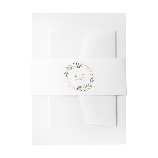 Wedding Geometric Greenery Floral Gold Green Invitation Belly Band