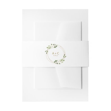 Wedding Geometric Greenery Floral Gold Green Invitation Belly Band
