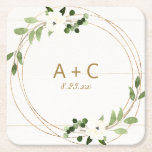 "Wedding Geometric Watercolor Floral Rustic Wood Square Paper Coaster<br><div class=""desc"">Modern Geometric Greenery Wedding Coaster with Faux Gold Foil: Take your wedding reception or engagement party decor to the next level by setting out these personalized paper coasters. This design features trendy faux gold geometric frame with rustic watercolor greenery and white flowers. Personalize with your initials and wedding date.Your guests...</div>"
