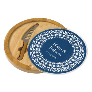 Wedding Gift Blue and White Folk Art Custom Cheese Platter