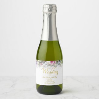 Wedding Gift - Bride with colorful wedding bouquet Champagne Label