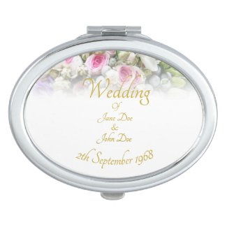 Wedding Gift - Bride with colorful wedding bouquet Compact Mirror