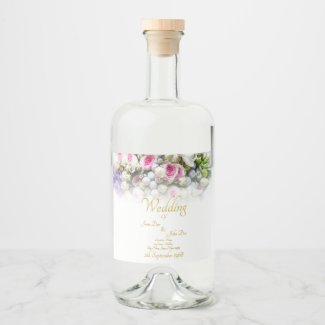 Wedding Gift - Bride with colorful wedding bouquet Liquor Bottle Label