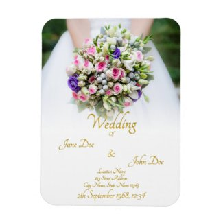 Wedding Gift - Bride with colorful wedding bouquet Magnet