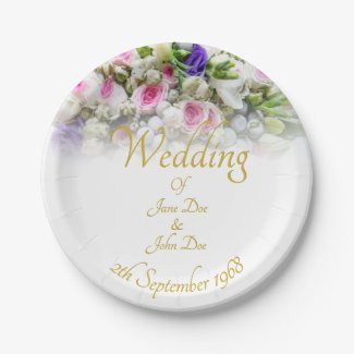 Wedding Gift - Bride with colorful wedding bouquet Paper Plate