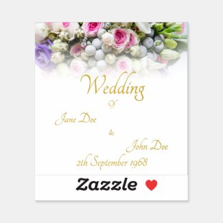 Wedding Gift - Bride with colorful wedding bouquet Sticker