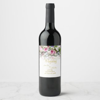 Wedding Gift - Bride with colorful wedding bouquet Wine Label