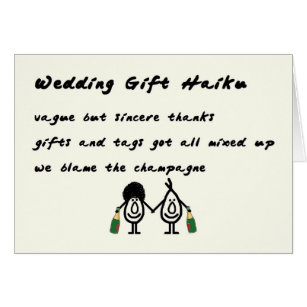 Sincere Poems Gifts On Zazzle Wedding Gift Haiku A Funny Thank You Poem Card Therapyboxfo