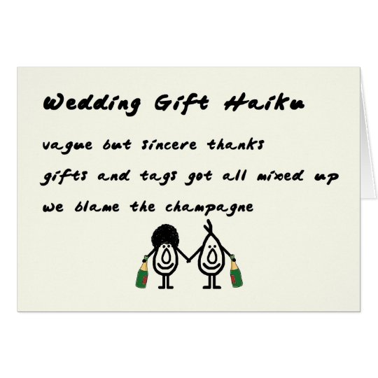 Wedding Gift Thank You Poem : Wedding Gift Haiku - a funny thank you poem Card Zazzle